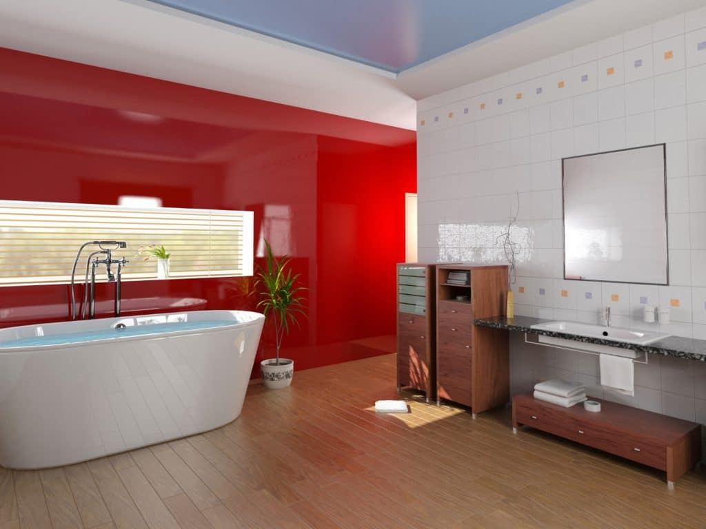 Remodeled Red Bathroom Bathtub Wood Floors and Cabinets | Best General Contractor for Bathrooms in Los Angeles | High Class Builders