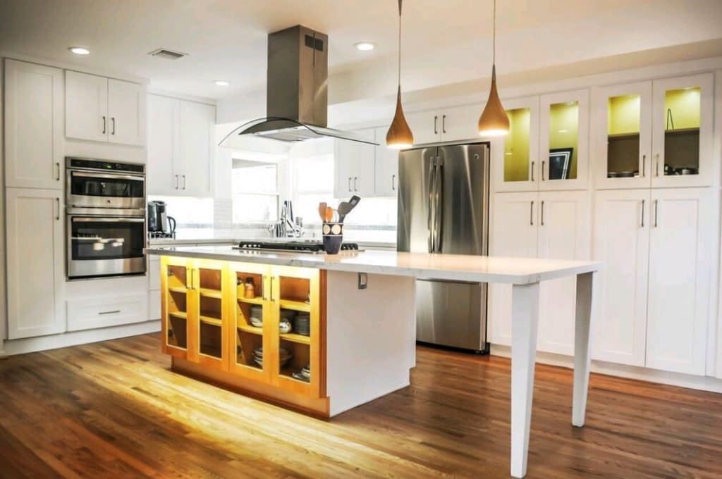 Unique Remodeled Kitchen White Granite Countertops Wood Cabinets Yellow | Best General Contractor for Kitchens in Los Angeles | High Class Builders