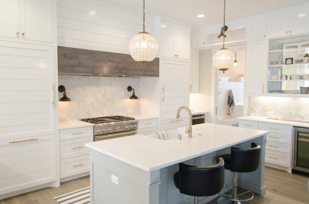 Remodeled Elegant Kitchen White Countertops Wood Cabinets | Best General Contractor for Kitchens in Los Angeles | High Class Builders