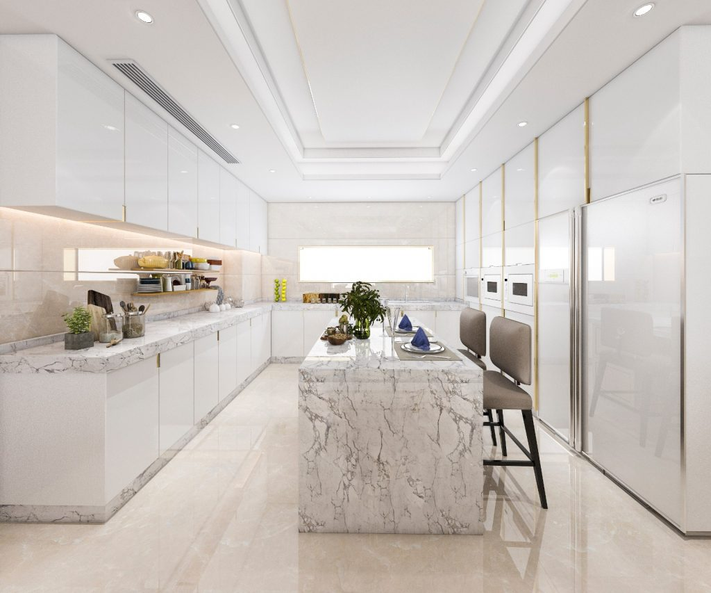 Remodeled Kitchen White Granite Waterfall Counter Table White Cabinets | Best General Contractor for Kitchens in Los Angeles | High Class Builders