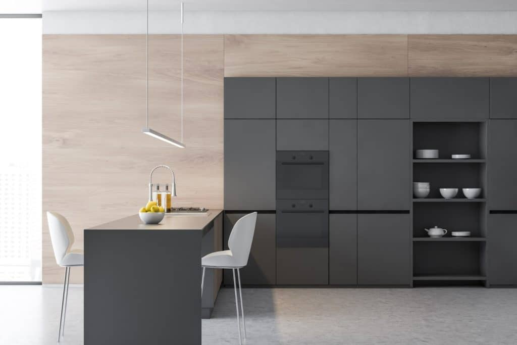 Modern Minimalist Kitchen Grey Waterfall Counter Table Cabinets | Best General Contractor for Kitchens in Los Angeles | High Class Builders