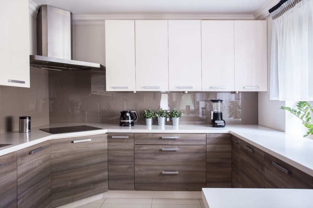 Modern Minimalist Kitchen White Counter Wood Cabinets | Best General Contractor for Kitchens in Los Angeles | High Class Builders