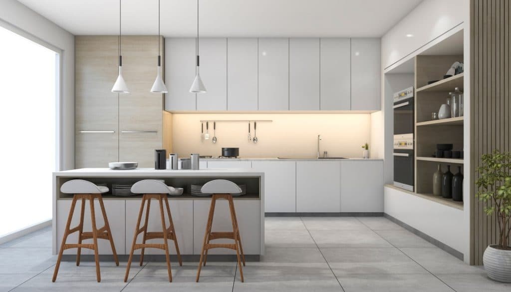 Modern High End Minimalist Kitchen Waterfall Counter Cabinets Table Grey White | Best General Contractor for Kitchens in Los Angeles | High Class Builders