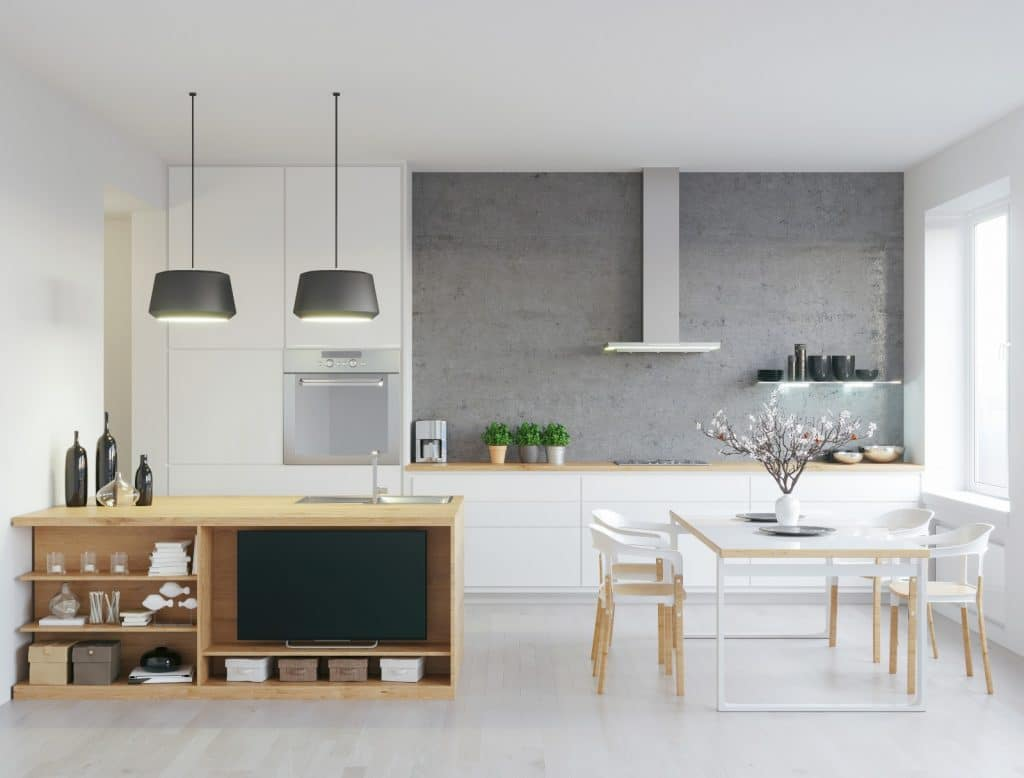 Modern Minimalist Kitchen Wood Counter Cabinets Table Grey White | Best General Contractor for Kitchens in Los Angeles | High Class Builders