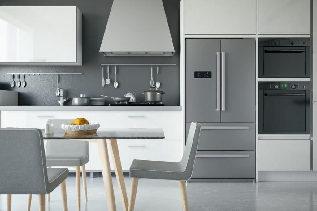 Modern Minimalist Kitchen Glass Table Grey | Best General Contractor for Kitchens in Los Angeles | High Class Builders