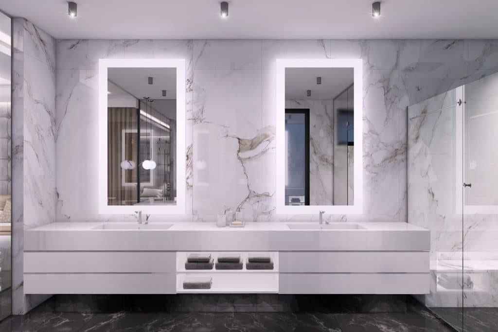 High-End Bathroom White Glass Shower Dark Marble Floor Wall with Illuminated Mirrors | Best General Contractor for Bathrooms in Los Angeles | High Class Builders