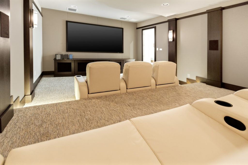 New Home Entertainment Theatre Room Construction with White Leather Cinema Seats and Lighting | Best General Contractor for Home Entertainment Systems in Los Angeles | High Class Builders
