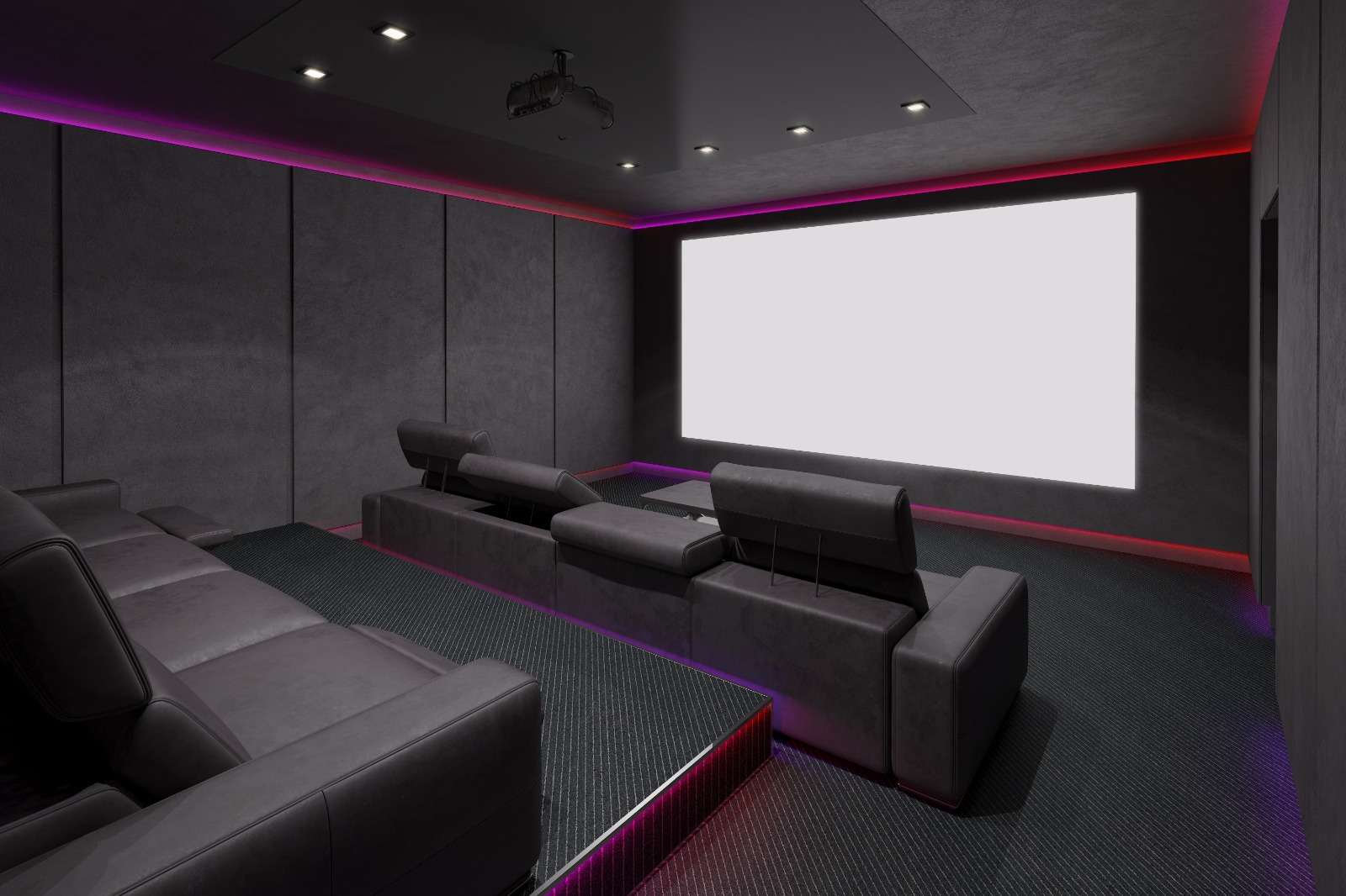 New Home Entertainment Theatre Room Construction with Leather Cinema Seats and Red Ambient Lighting | Best General Contractor for Home Entertainment Systems in Los Angeles | High Class Builders