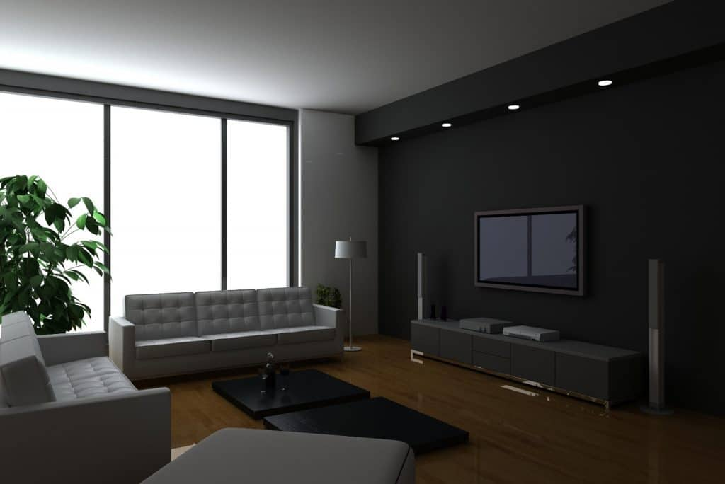 New Modern Home Entertainment Theatre Room Construction with Grey Couches Black Wall Furniture | Best General Contractor for Home Entertainment Systems in Los Angeles | High Class Builders