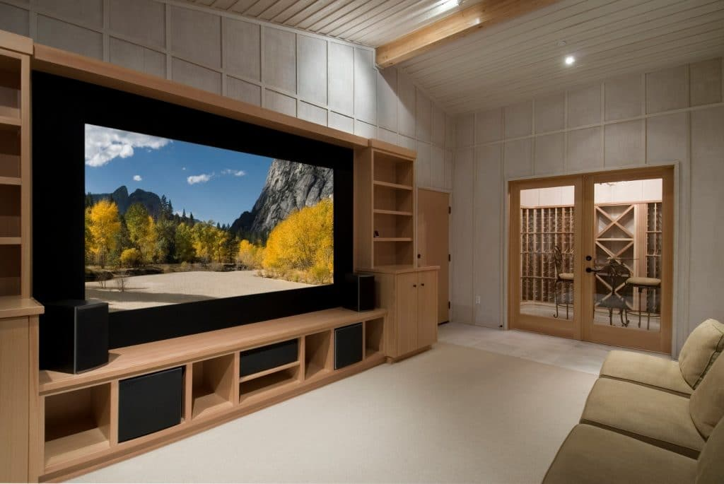 New Wooden Home Entertainment Theatre Room Construction with Surround Sound System | Best General Contractor for Home Entertainment Systems in Los Angeles | High Class Builders