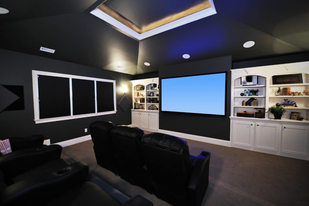 New Modern Home Entertainment Theatre Room Construction with Cinema Seats and Lighting | Best General Contractor for Home Entertainment Systems in Los Angeles | High Class Builders