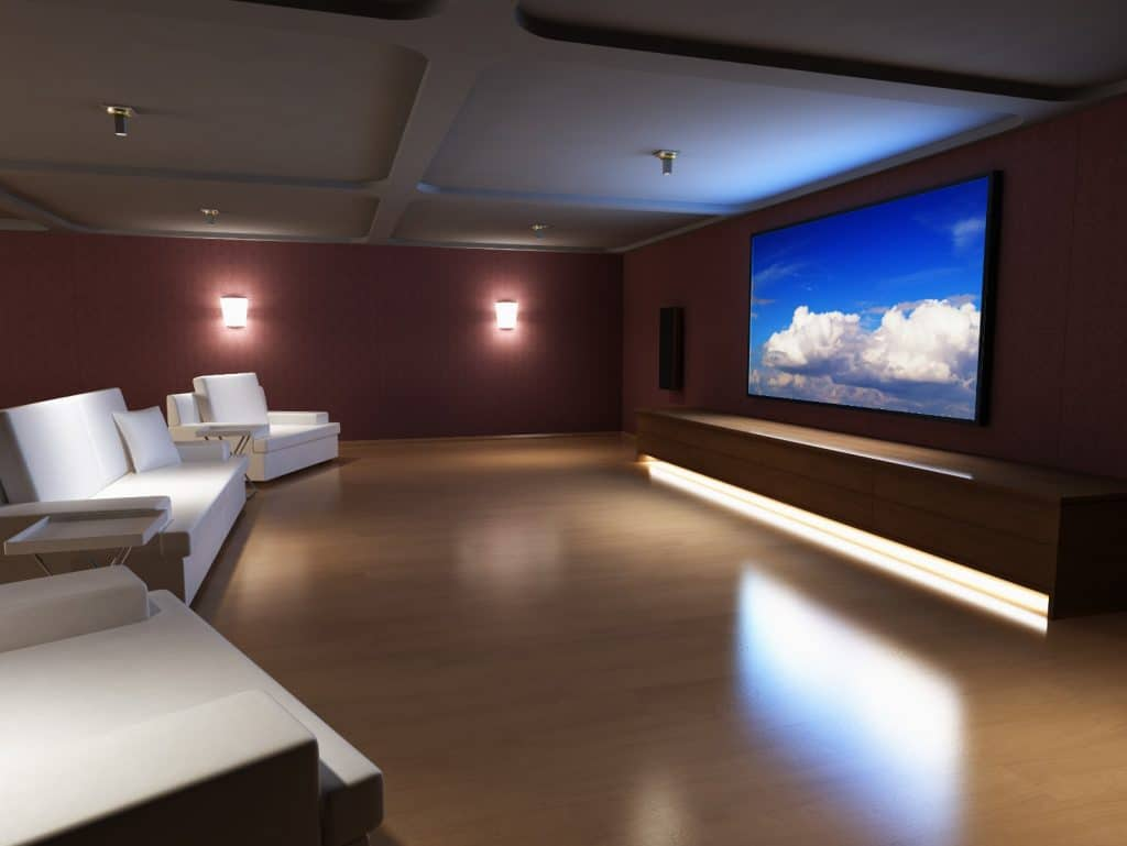 New Modern Home Entertainment Theatre Room Construction with Cinema Seats and Ambient Lighting | Best General Contractor for Home Entertainment Systems in Los Angeles | High Class Builders