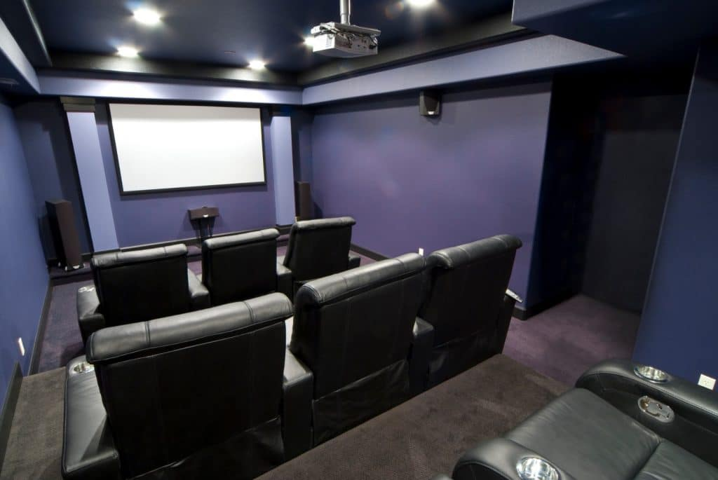 New Home Entertainment Theatre Room Construction with Cinema Seats and Overhead Projector | Best General Contractor for Home Entertainment Systems in Los Angeles | High Class Builders
