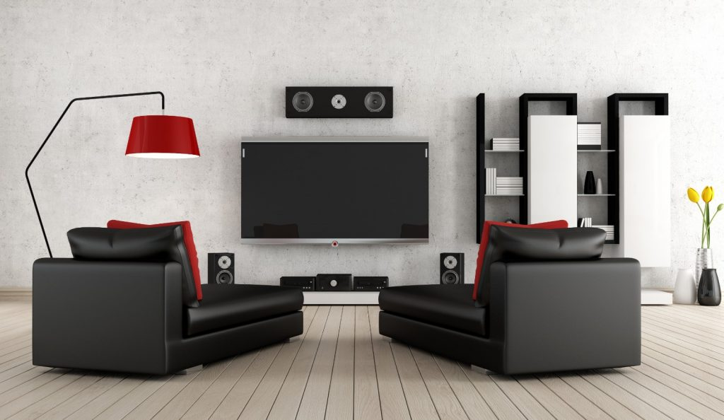New Modern Home Entertainment Theatre Room Construction with Surround Sound System black and white | Best General Contractor for Home Entertainment Systems in Los Angeles | High Class Builders