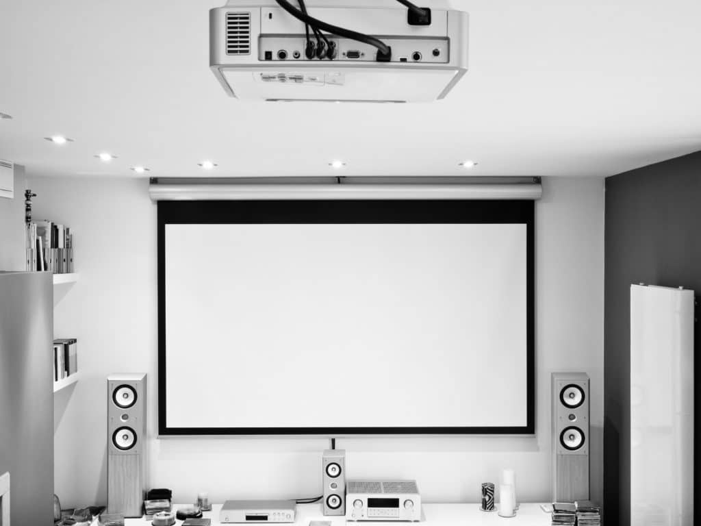 New Home Entertainment Theatre Room Construction with Overhead Projector and Surround Sound System | Best General Contractor for Home Entertainment Systems in Los Angeles | High Class Builders
