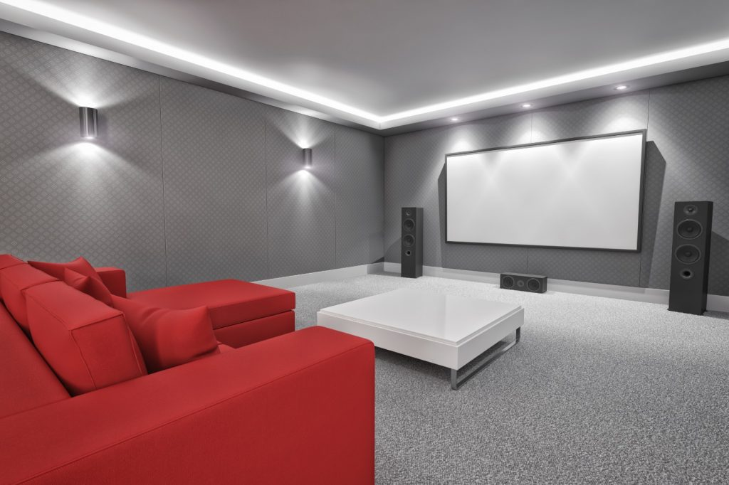 New Home Entertainment Theatre Room Construction with Red Couch and LED Lighting | Best General Contractor for Home Entertainment Systems in Los Angeles | High Class Builders