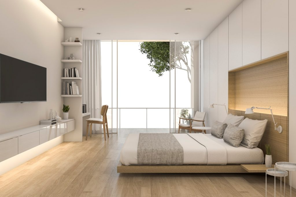 Fully Remodeled Modern Bedroom Construction with Bamboo TV and Ambient Light | Best General Contractor for Home Remodeling in Los Angeles | High Class Builders