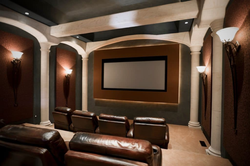 New Home Entertainment Theatre Room Construction with Brown Leather Cinema Seats and Lighting | Best General Contractor for Home Entertainment Systems in Los Angeles | High Class Builders