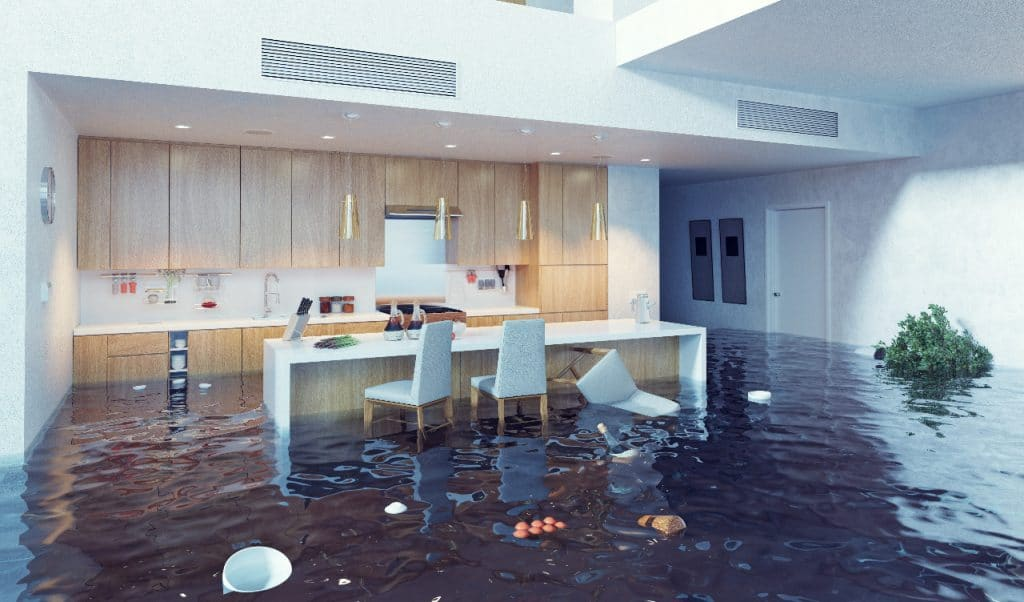 Flooded Kitchen in Modern Home | Best General Contractor for Renovation in Los Angeles | High Class Builders