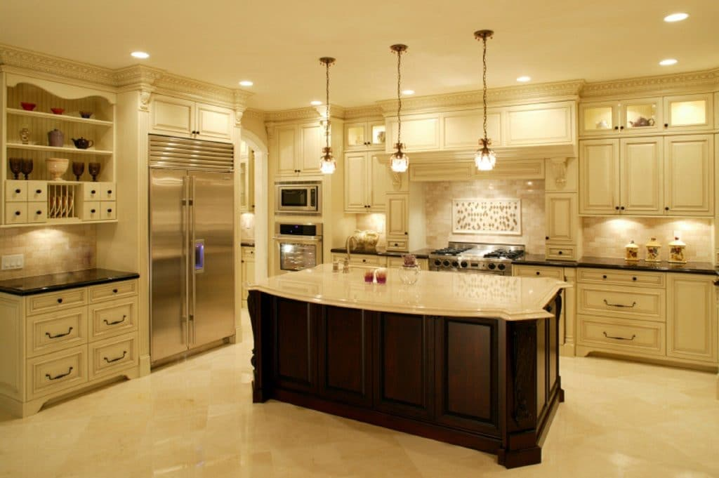 Remodeled Open Kitchen White Granite Countertops Wood Cabinets Light Creme Beige Warm | Best General Contractor for Kitchens in Los Angeles | High Class Builders