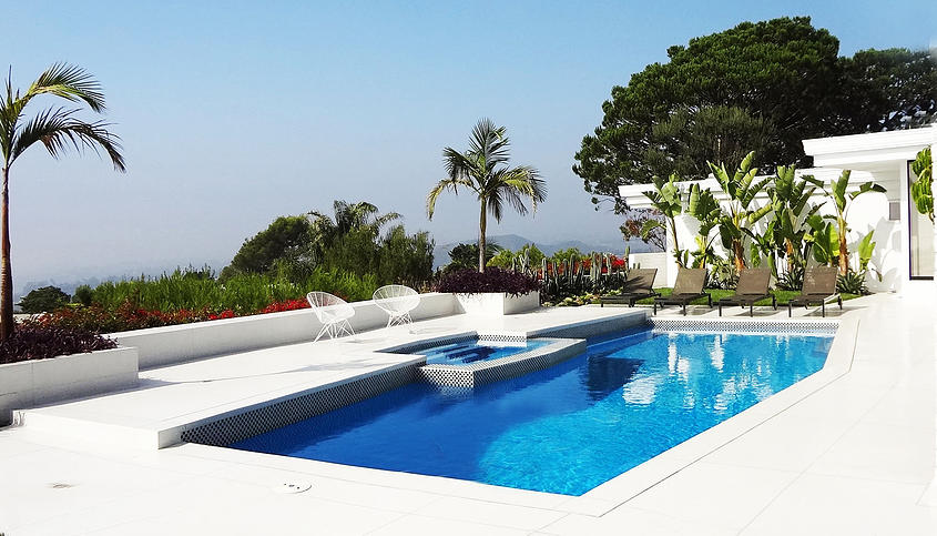 New Backyard Pool with Mosaic Tile White | Best General Contractor for Pools in Los Angeles | High Class Builders