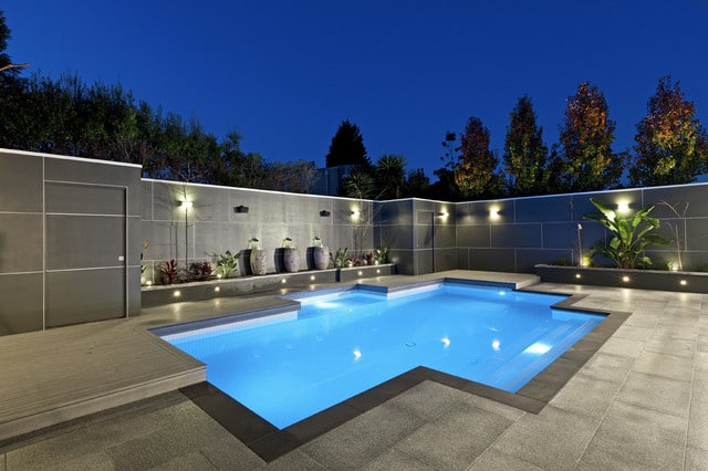New Minimalist Modern Pool with Grey Walls | Best General Contractor for Pools in Los Angeles | High Class Builders