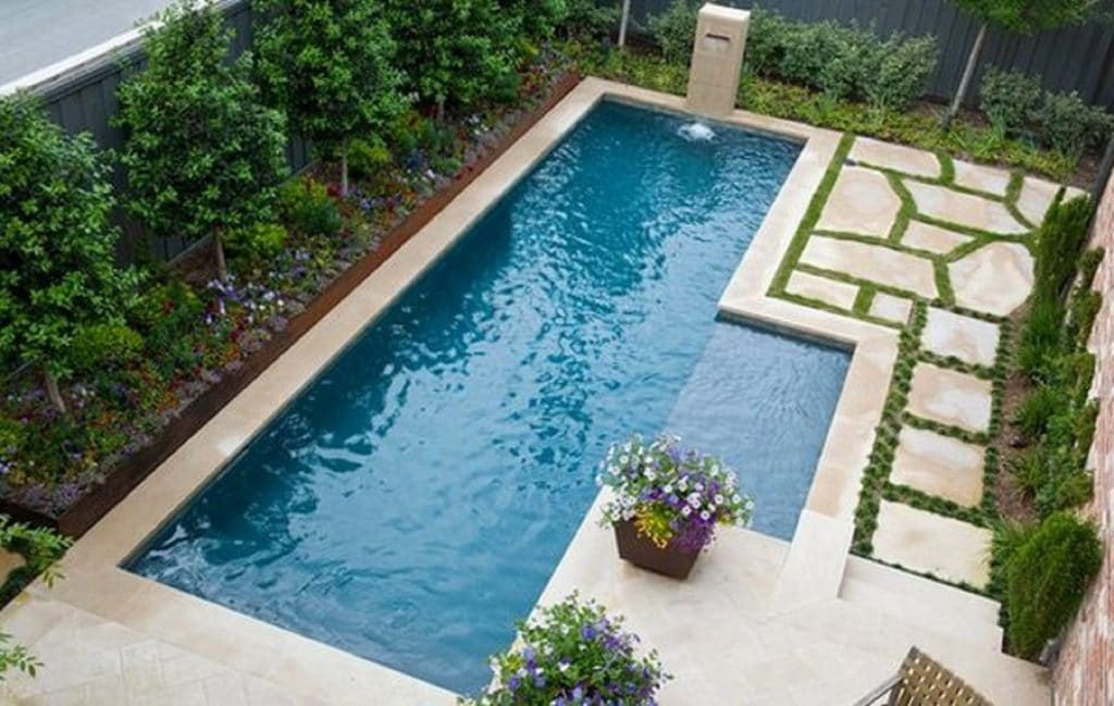 New Exterior Backyard Pool Rectangular with Mini Waterfall | Best General Contractor for Pools in Los Angeles | High Class Builders