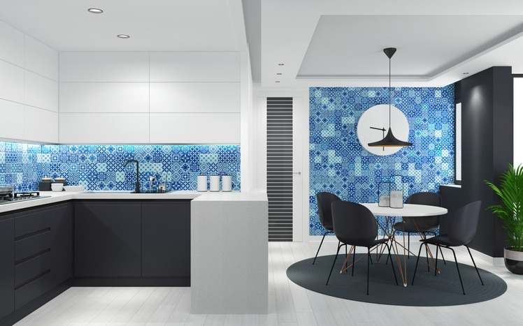 Modern Scandinavian Style Kitchen White Black Cabinets Chairs Blue Pattern Tile Wall | Best General Contractor for Kitchens in Los Angeles | High Class Builders