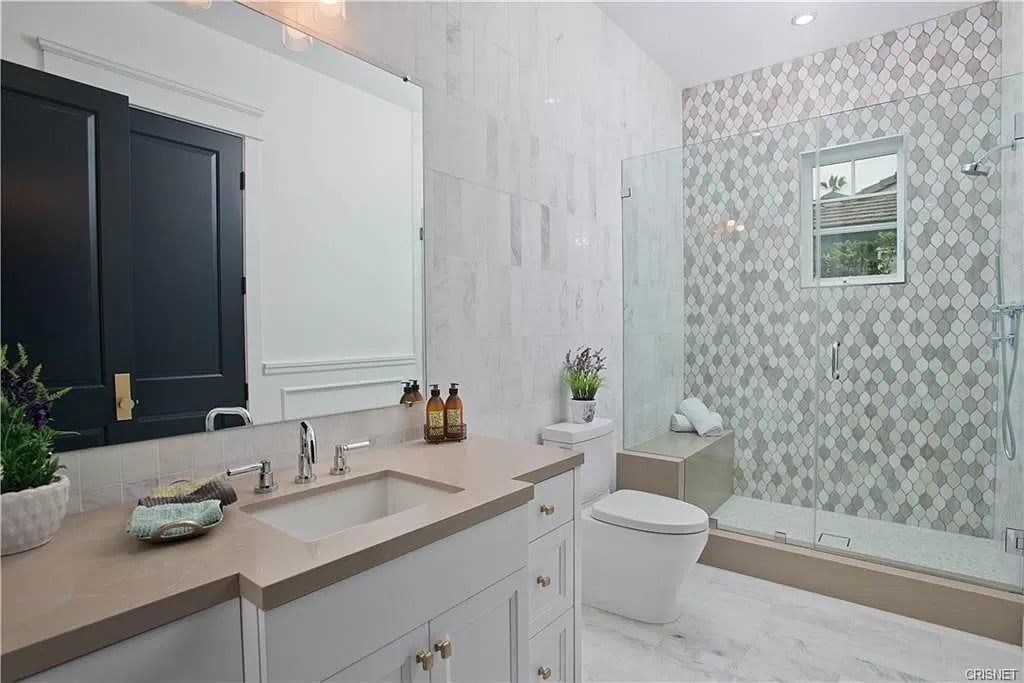 Modern Bathroom White Grey Tile Glass Shower Beige Countertop | Best General Contractor for Bathrooms in Los Angeles | High Class Builders