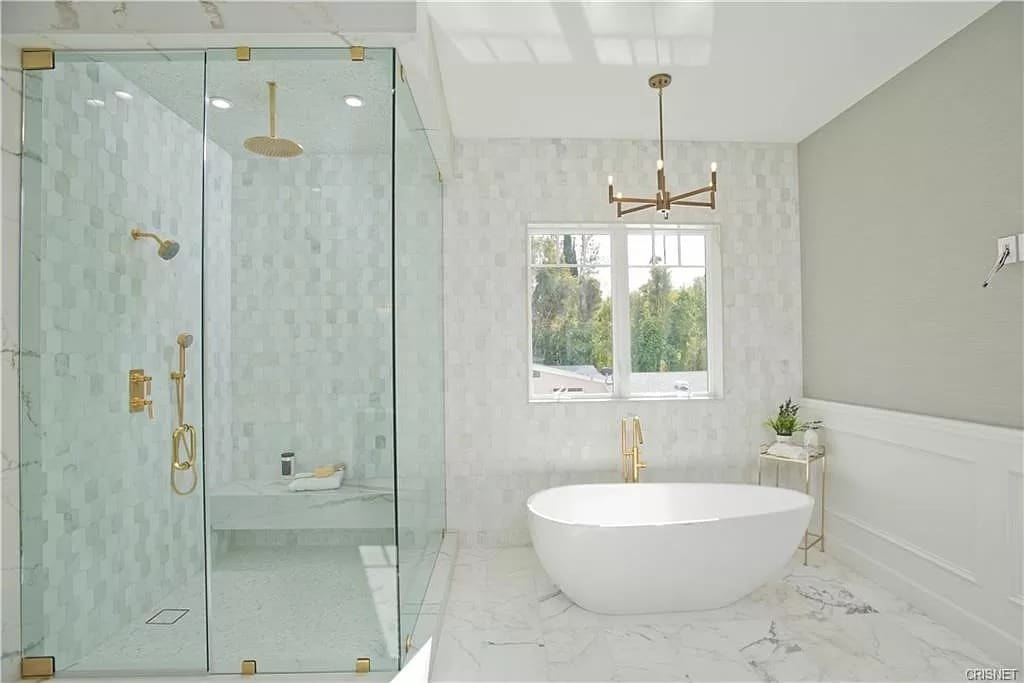 Modern Bathroom Marble White Bathtub Tile Glass Shower | Best General Contractor for Bathrooms in Los Angeles | High Class Builders