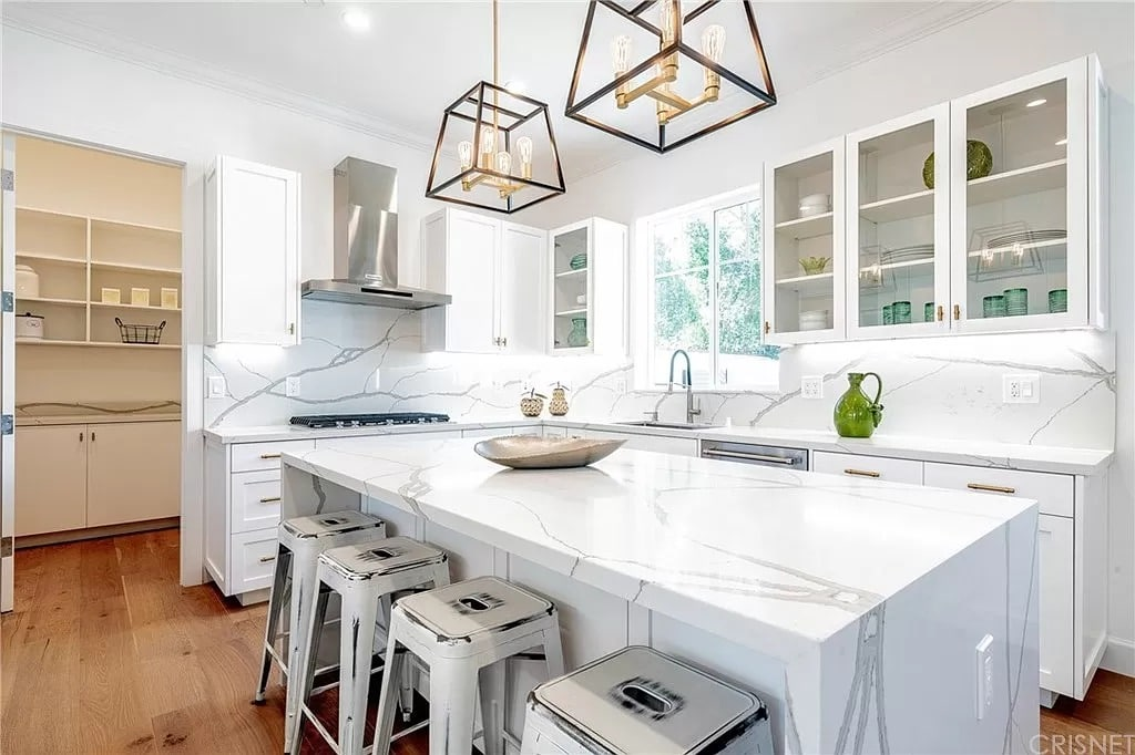 Modern Kitchen Marble Waterfall Counter White Grey | Best General Contractor for Kitchens in Los Angeles | High Class Builders