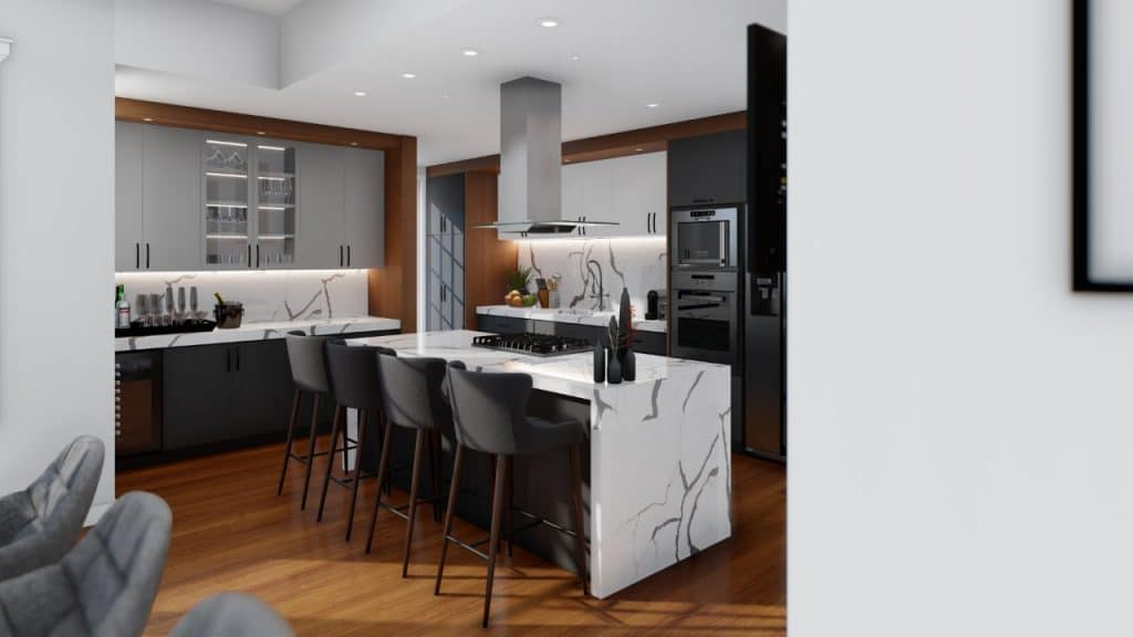 Modern Kitchen Marble Waterfall Countertop White Black | Best General Contractor for Kitchens in San Francisco | High Class Builders