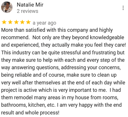 Google 5 star customer rating testimonial review | Best General Contractor in Los Angeles | High Class Builders