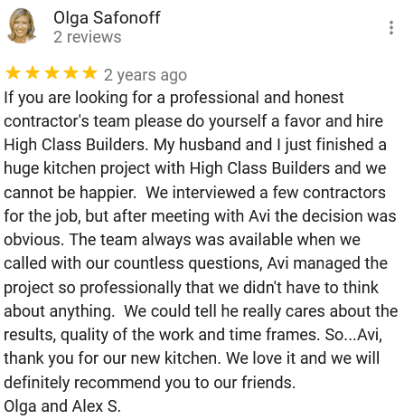 Google 5 star customer rating testimonial review | Best General Contractor in San Francisco | High Class Builders