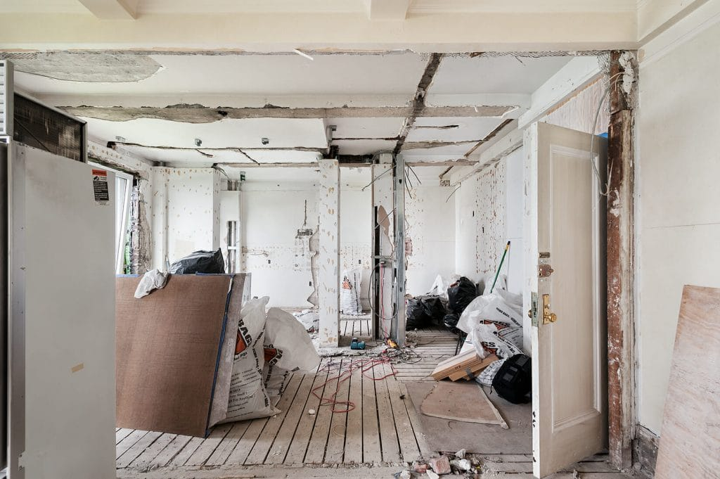 Renovation vs. Remodeling Contractor Stripped Down House Interior Prepared for Renovation   Best General Contractor in Los Angeles   High Class Builders Blog